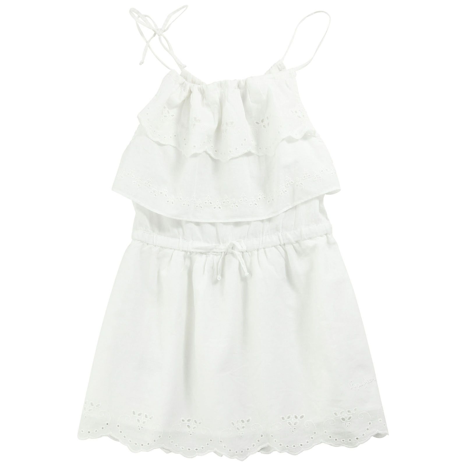 Short dress with lace trims gathered waistband and shoulders