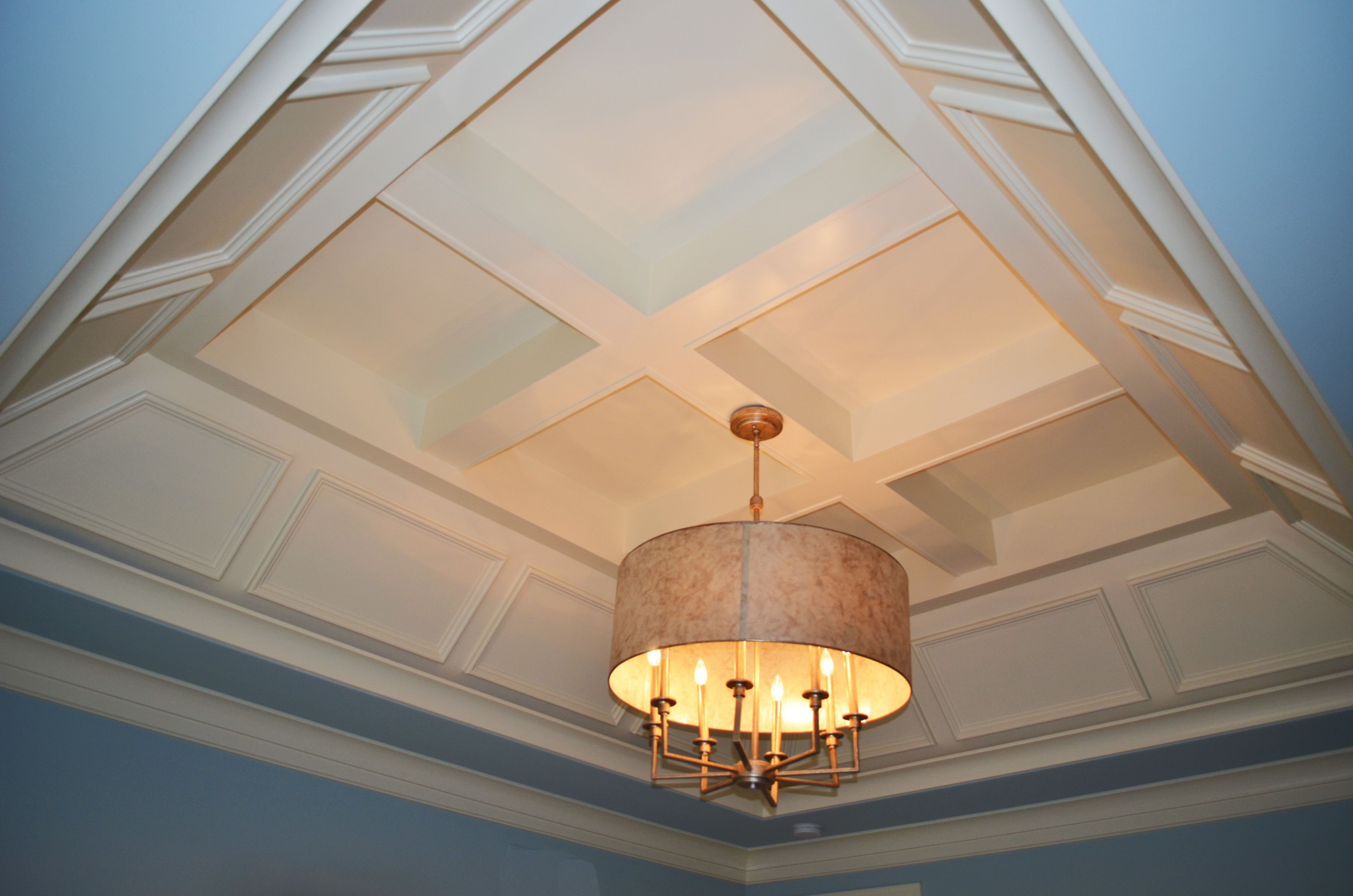 Specialty Ceiling In Andrea Ii Sloped Hip Tray With Wainscotting