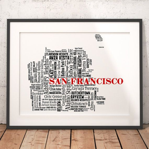 San Francisco Map Typography Art Poster Print San Francisco