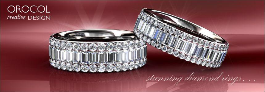 Baguette and Brilliant cut diamond rings . . .