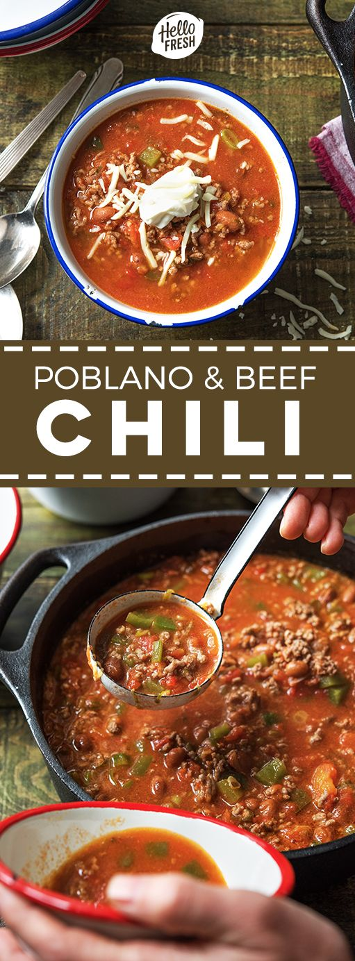 Easy Poblano And Beef Chili Recipe Try Hellofresh Today With Code Hellopinterest And Receive 25 Of Beef Chili Recipe Hello Fresh Recipes Hello Fresh Chili