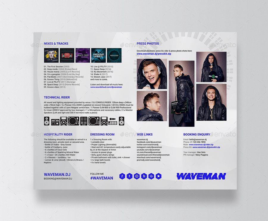 Wave Dj Press Kit Dj Resume Dj Rider Psd Template Psd Templates Press Kit Certificate Templates