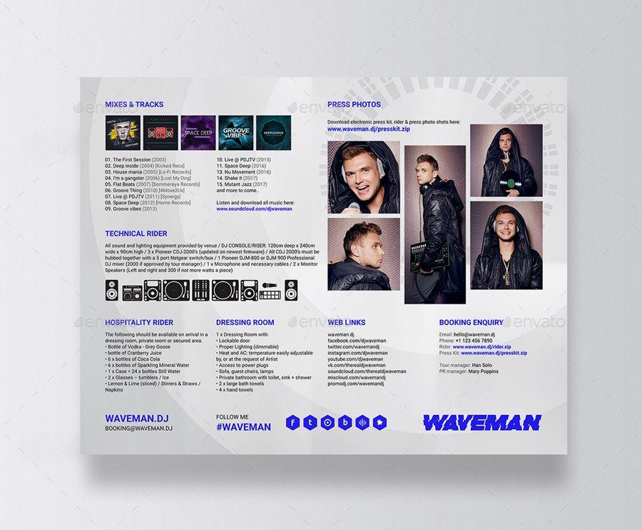 Wave Dj Press Kit Dj Resume Dj Rider Psd Template Press Kit Psd Templates Certificate Templates