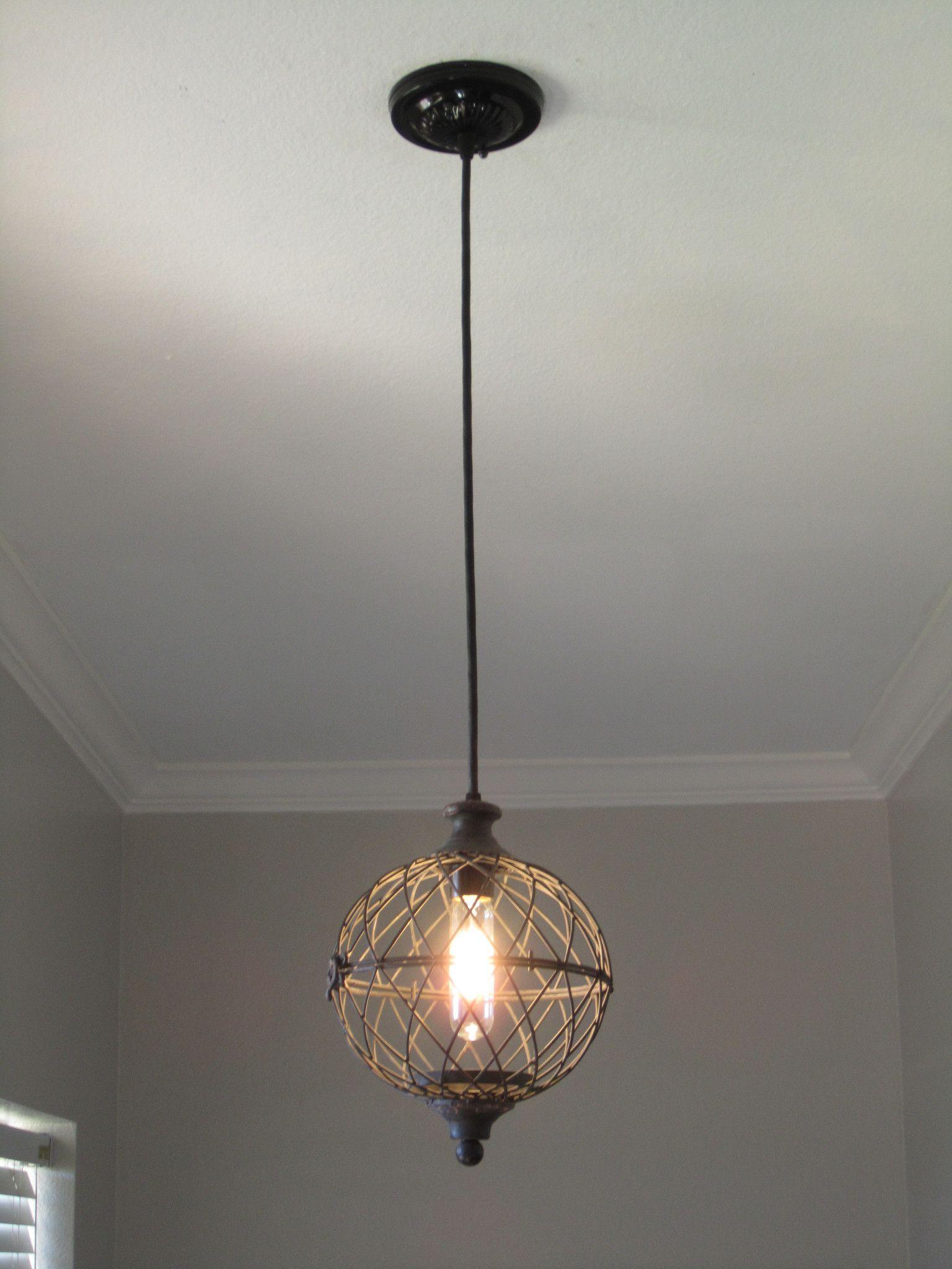 Rustic Metal Globe Pendant Light Distressed Rustic