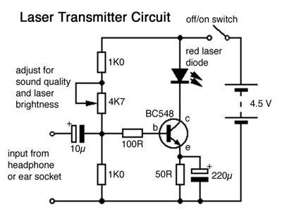 laser sound transmitter circuit | free electronics circuits, Circuit diagram
