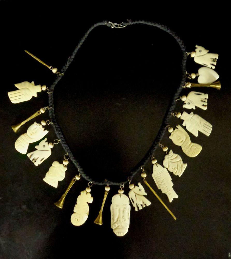 Rare Vintage Artisan Hand Carved Bone Stone Shaman Spirit Necklace India Handmade Vintage Jewelry Bone Carving Necklace