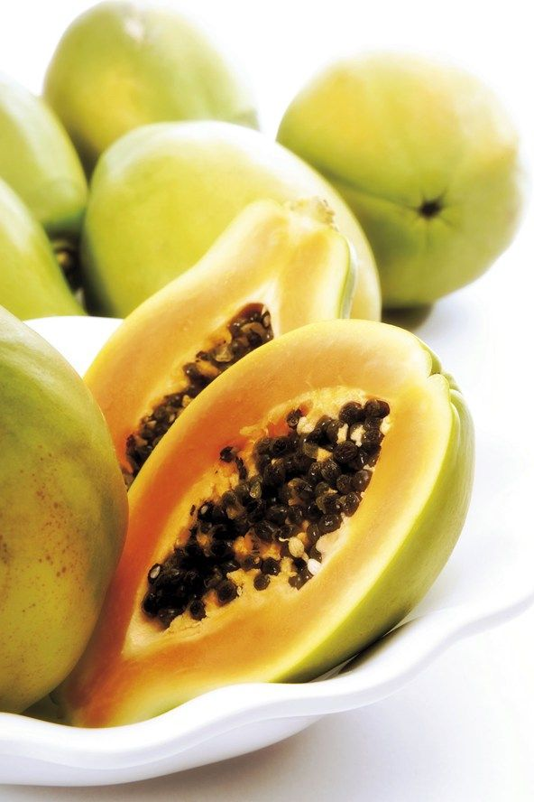 Papaya contains chemicals known as beta hydroxy acid, which act as a natural and gentle exfoliator on the skin. Mash it up and mix with yoghurt or honey for a brightening face mask, and let the enzymes work their magic. Like an all-natural skin peel.