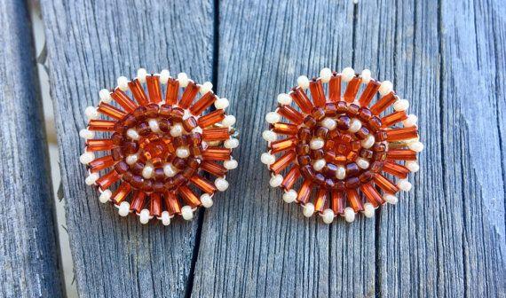 Vintage Clip-on Beaded Native American Earrings