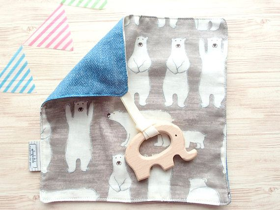 Baby Boys Girls Quality Handmade Wooden Elephant Teether /& Muslin Comforter Toy