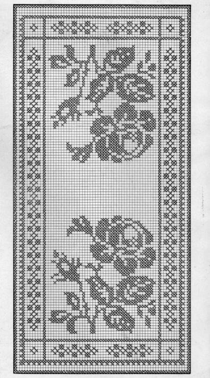 Filet crochet chart for a rose inspired table runner. Beautiful!