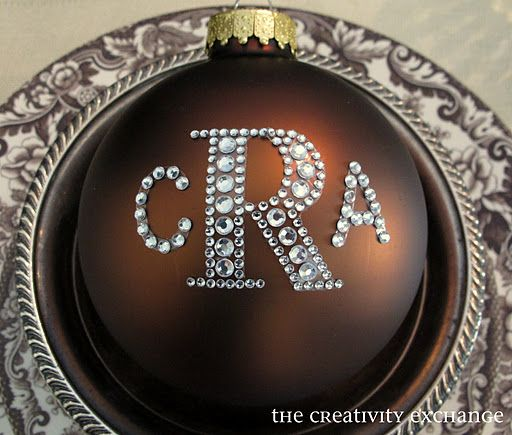 Rhinestone stickers from Hobby Lobby to make monogrammed ornaments. Large letter for last name & smaller for first and middle initial. Easy and inexpensive, yet such a beautiful little gift.