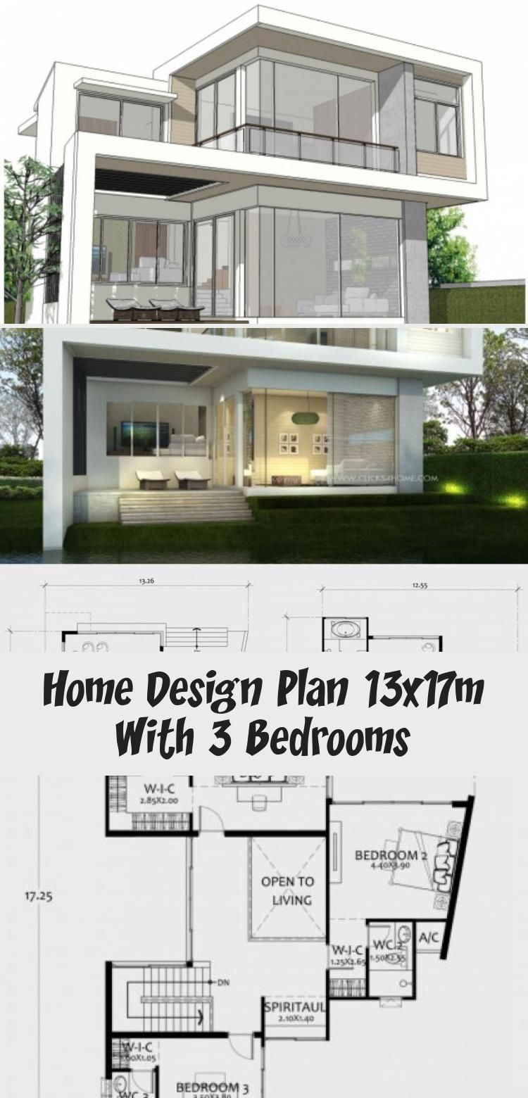 Home Design Plan 13x17m With 3 Bedrooms Home Design With Plansearch Modernhousesfence Modernhousesterrace In 2020 Home Design Plan House Design Modern Architecture