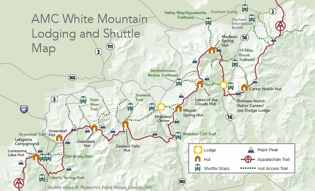 View the White Mountain hiker shuttle schedule and map. in ...