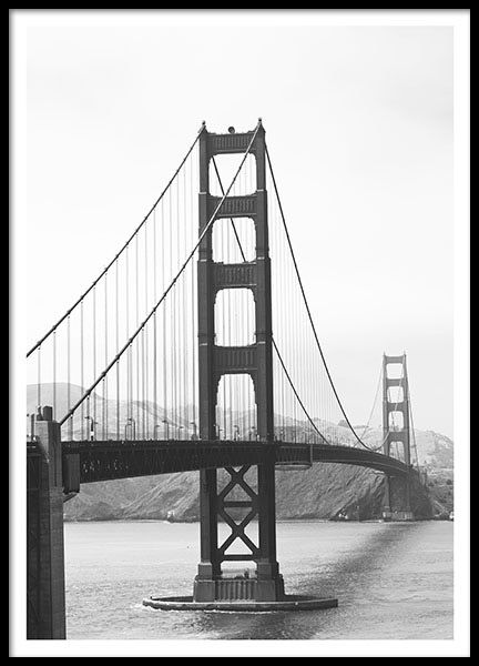 Stylish poster with a photo of the bridge in San Francisco. A design ...