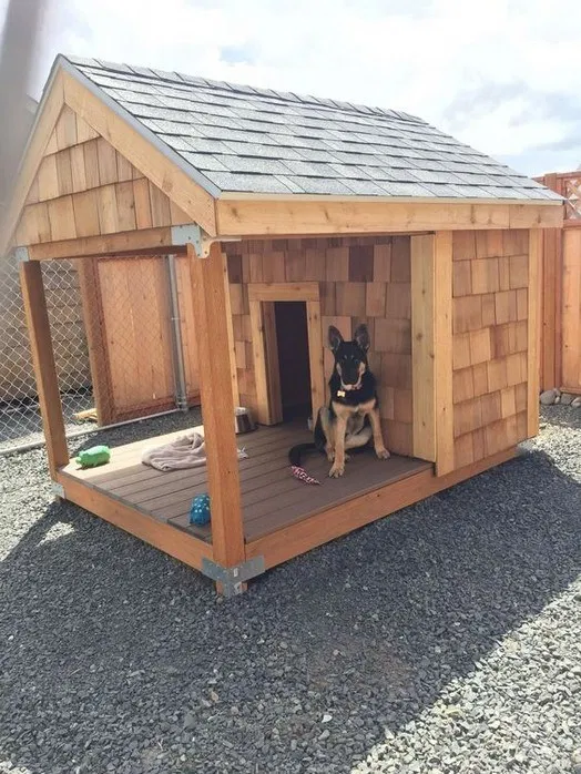 95 Easy Diy Dog House Plans Ideas You Should Build This Season Dog House With Porch Cool Dog Houses Outdoor Dog House
