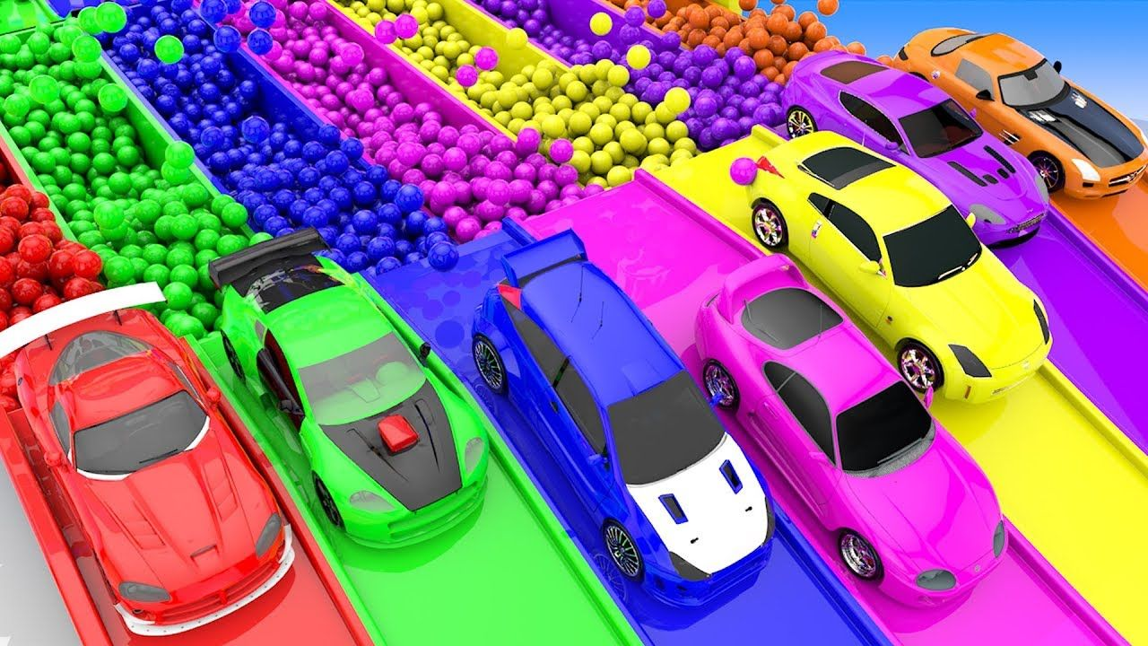 Colors for children to learn with hotwheels cars street vehicles