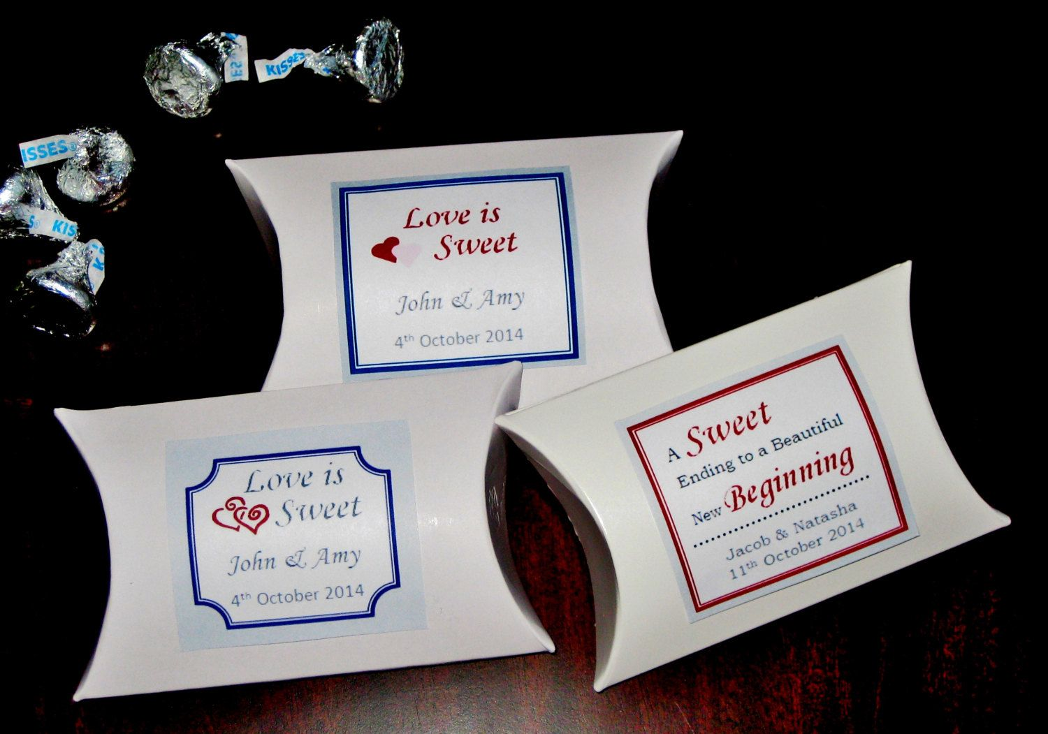60 Wedding favor box, personalized wedding favor box, pillow box for ...