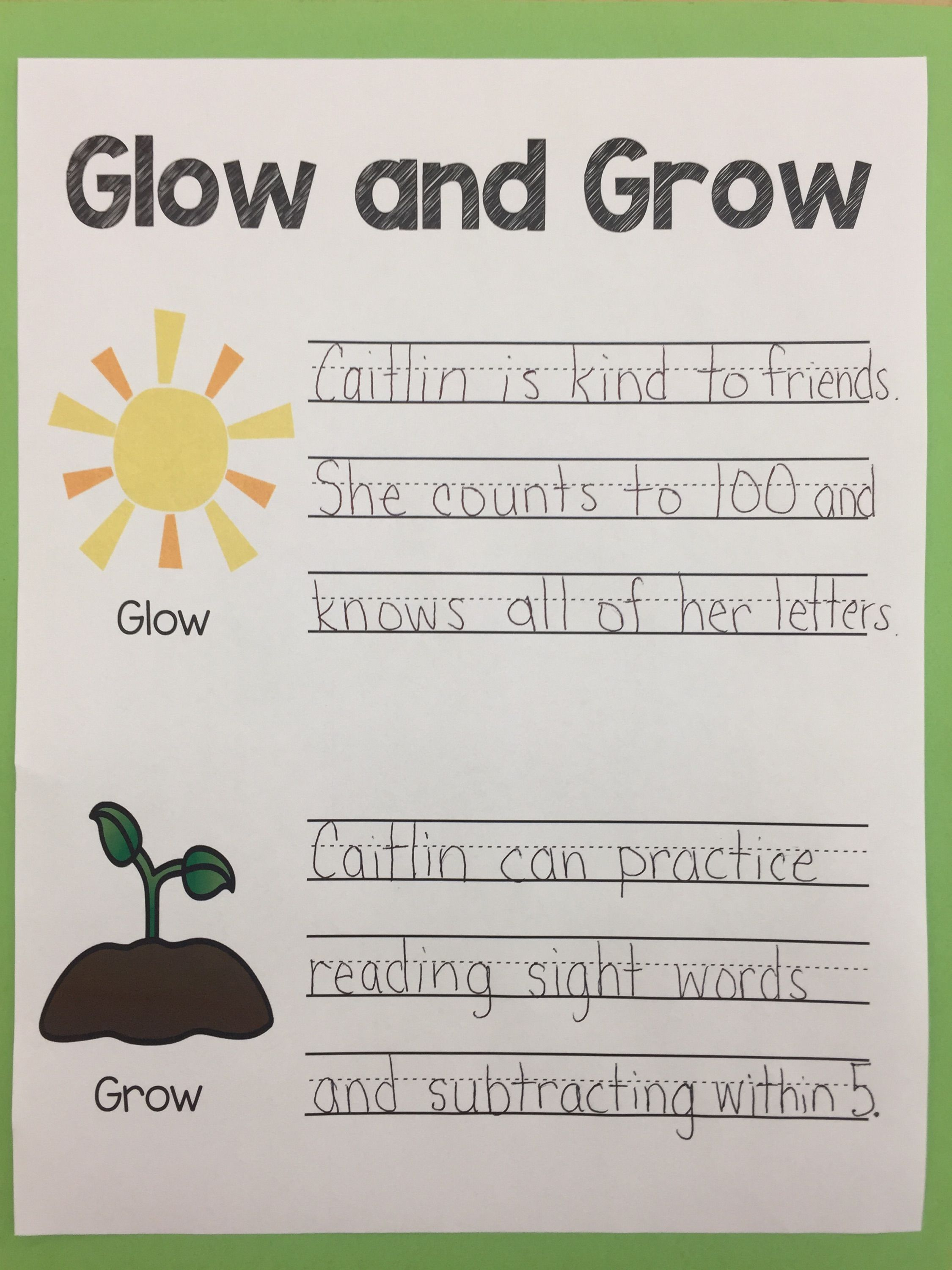 Parent Or Student Led Conference Glow And Grow Feedback Form