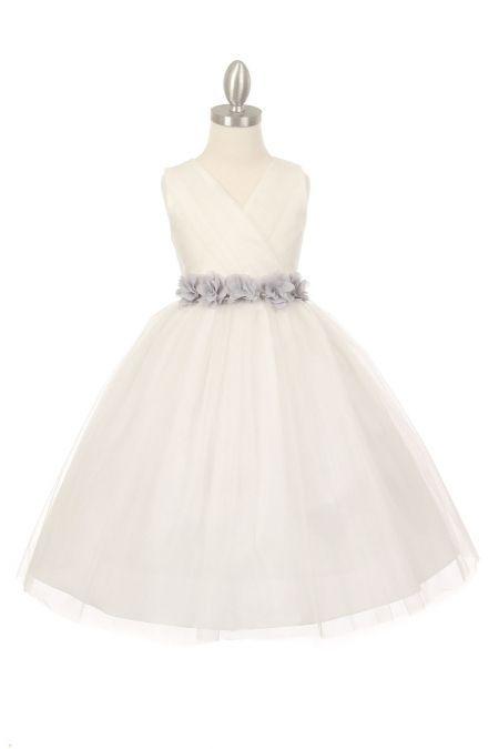94002211bdc Ivory Silver+Tulle+V-Neck+with+Removable+Floral+Sash+Flower+Girl+Dress +CC-1220-ISV+on+www.GirlsDressLine.Com