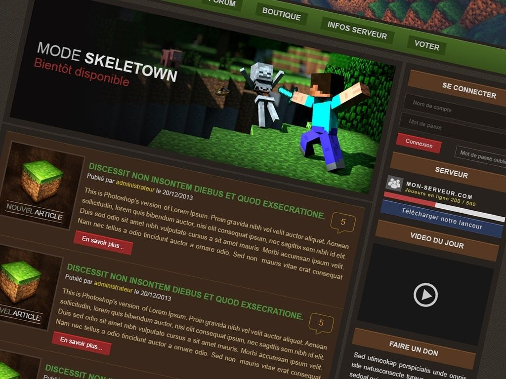 minecraft website templates
