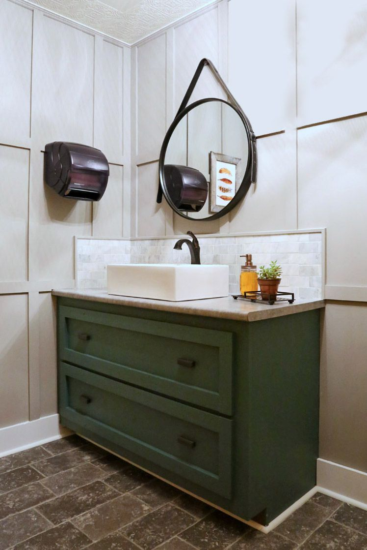 Restaurant Bathroom Makeover featuring paint colors Ghost Writer PPG1007-3  Mecca Gold 214-7   Juniper Berry 501-6 by PPG Voice of Color