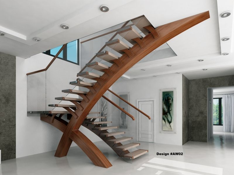 Modern glass stairs glass balustrade modern stairs for Escaleras decorativas de interior