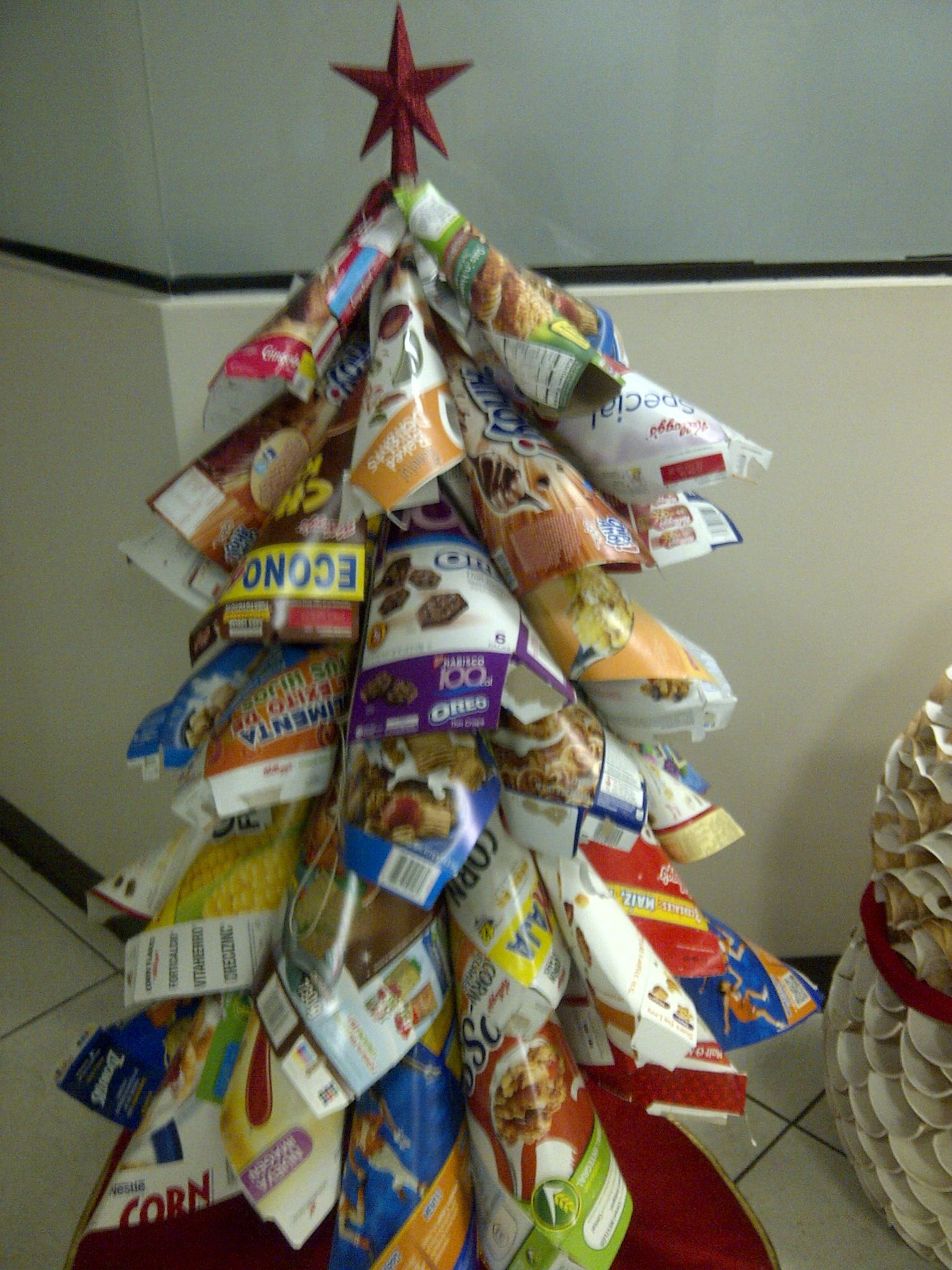 Christmas Tree Made With Recycled Cereal Boxes