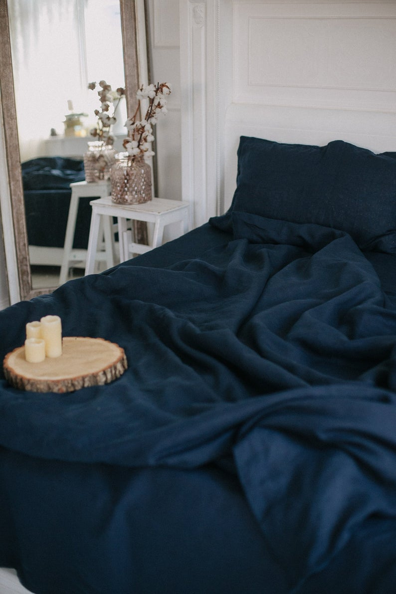 Navy Blue Duvet Cover Dark Blue Indigo Linen Duvet Etsy Blue Duvet Cover Blue Comforter Bedroom Navy Blue Duvet Cover