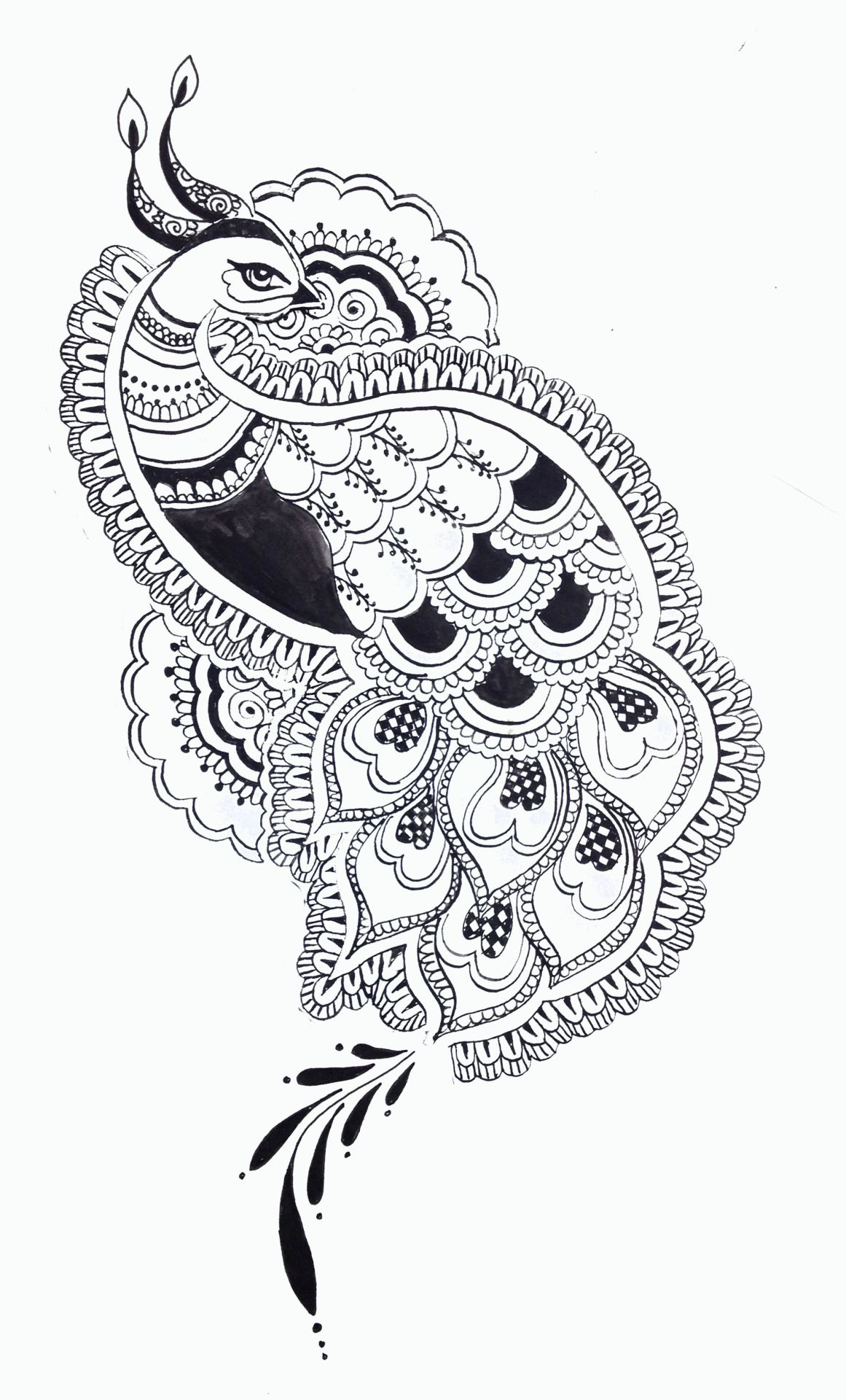 black and white peacock design Google Search