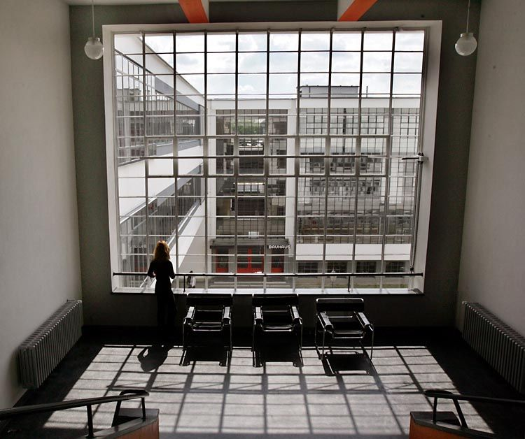 Walter Gropius The Bauhaus School In Dessau A View Inside The