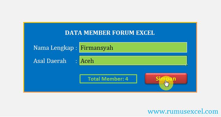 Aplikasi Form Data Entry Member Di Excel Aplikasi