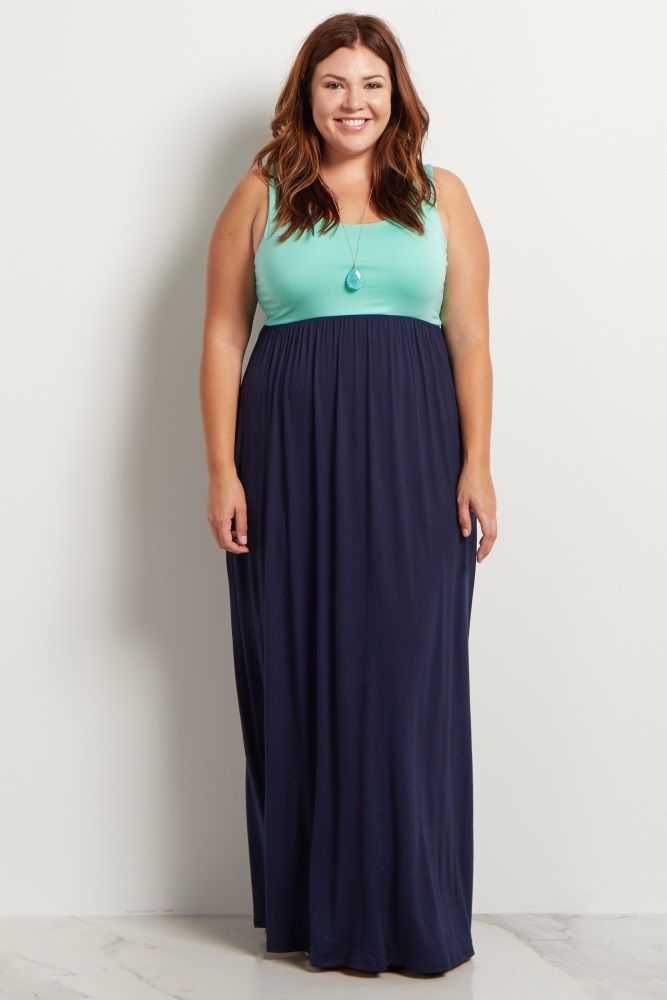 Mint Green Colorblock Plus Maternity Maxi Dress | •Mama• in ...