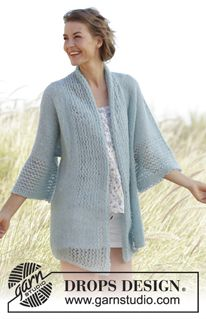 Saltwater Knitted Drops Jacket With Lace Pattern And Band Collar