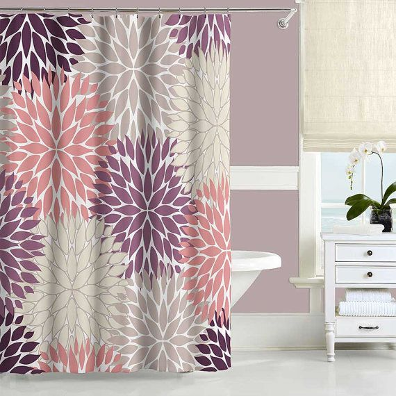 Floral Shower Curtain Bath Mat Shower Curtains Beige Purple Etsy