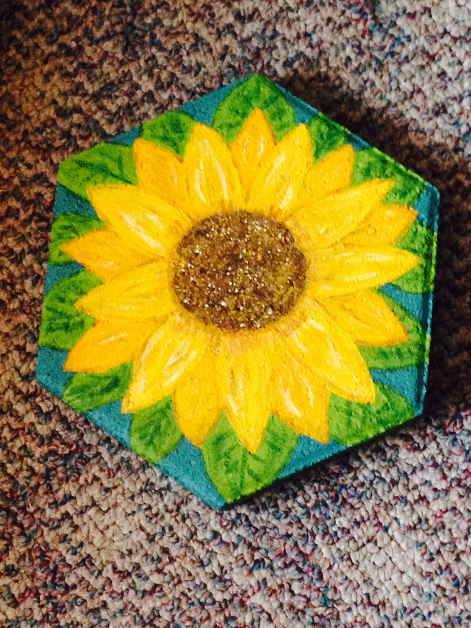 Ordinaire Sunflower Hexagon Cement Paver Stone, Hand Painted To Be Added To My  Butterfly Garden.