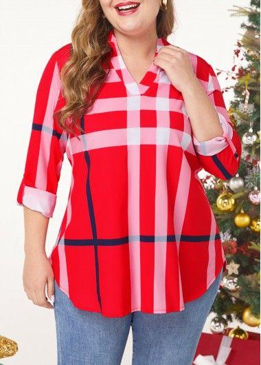 Plus Size Split Neck Long Sleeve Blouse