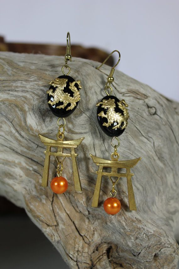 Orange Dragon earrings от catherineotto на Etsy