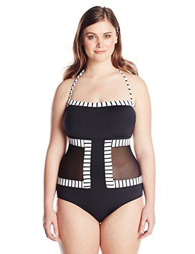 2c3841e19f7 Anne Cole Women s Plus-Size Mesh N Around One Piece Swimsuit