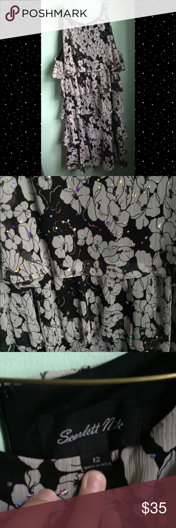 Selling this Black floral/sequin halter dress on Poshmark! My username is: becca813swan. #shopmycloset #poshmark #fashion #shopping #style #forsale #Dresses & Skirts