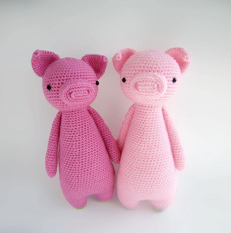 Piglet Amigurumi Free Pattern : Tall pig with backpack amigurumi pattern by little bear