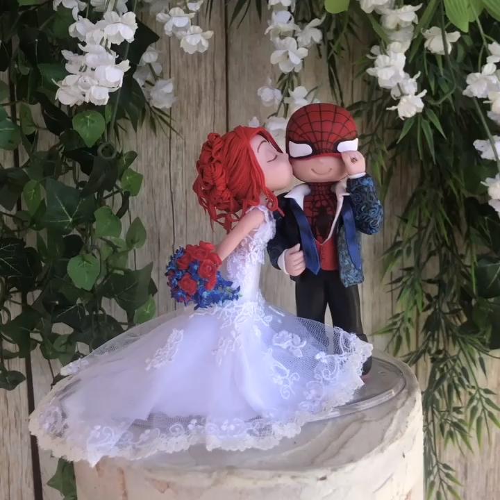 Spider Man Wedding Cake Topper Figurine Etsy Video Video In 2020 Marvel Wedding Marvel Wedding Theme Disney Wedding Cake