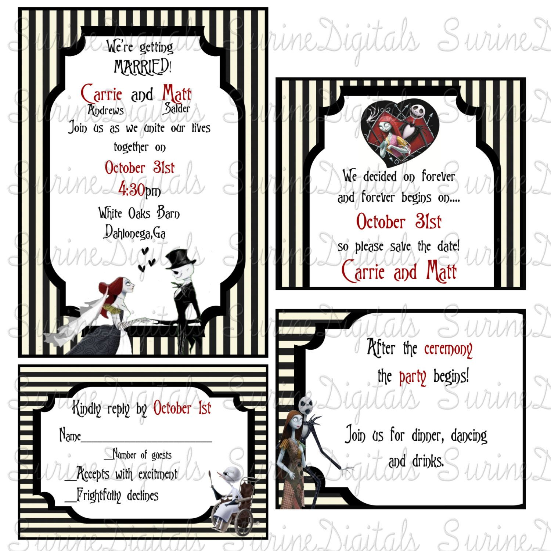 Nightmare Before Christmas Wedding Invitation set, Jack and Sally ...