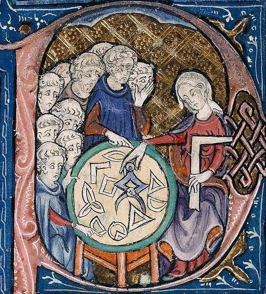 Woman teaching geometry to monks?. it's unusual to see women represented as teachers! BL Burney 275 f. 293 r, 14th c  vía @Libroantiguo..