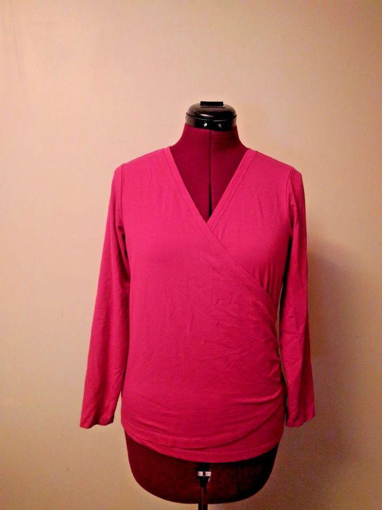 L L Bean Wrap Top Shirt Blouse Womens Supima Cotton Blend Size