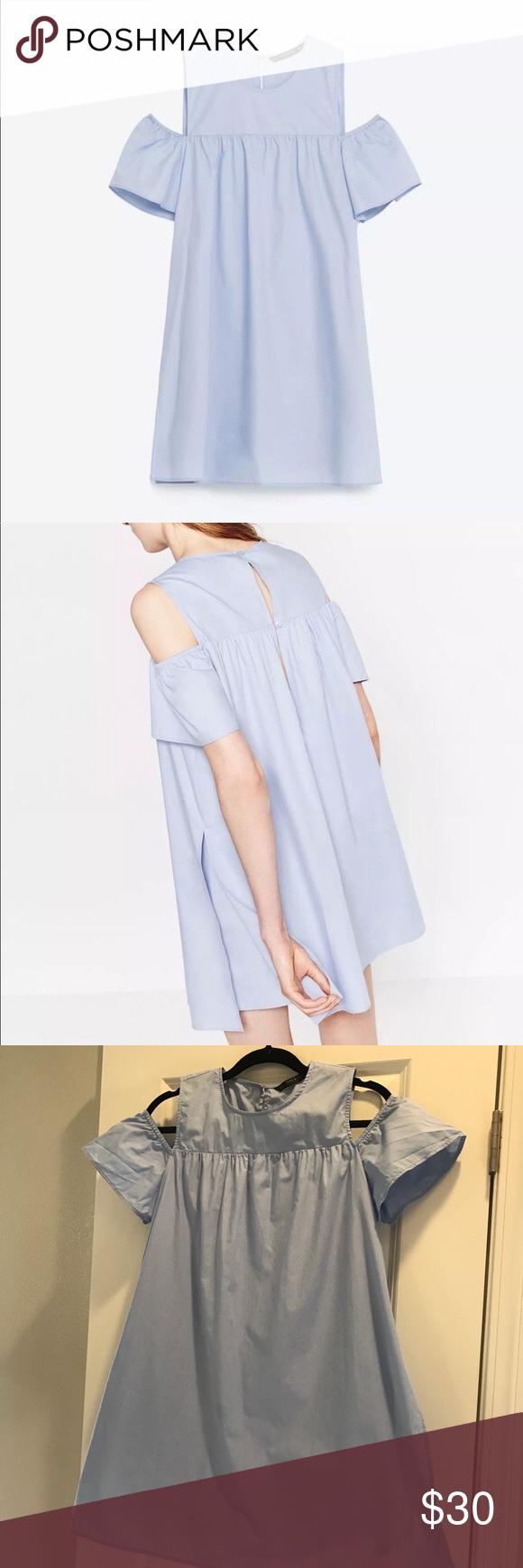 Zara blue jumpsuit dress with cutout shoulders