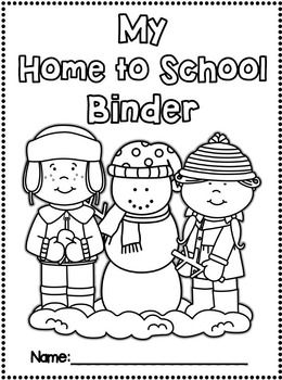 Monthly Home to School Binder/Folder Covers for STUDENTS