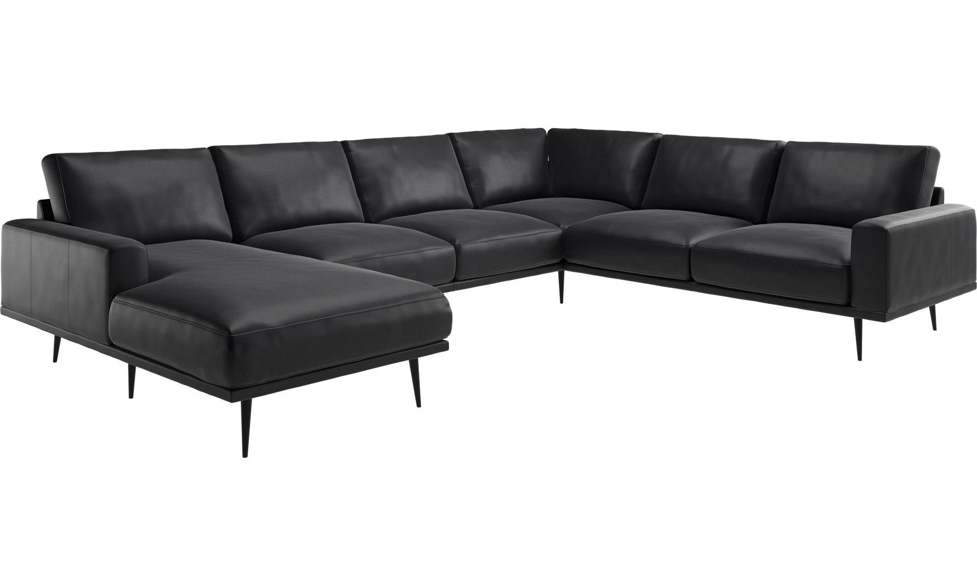 Rundsofa Leder Wohnlandschaft halb rund Sofa Couch U Form