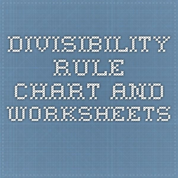 Divisibility rule chart for 7, 4, 8 and more | Divisibility rules ...