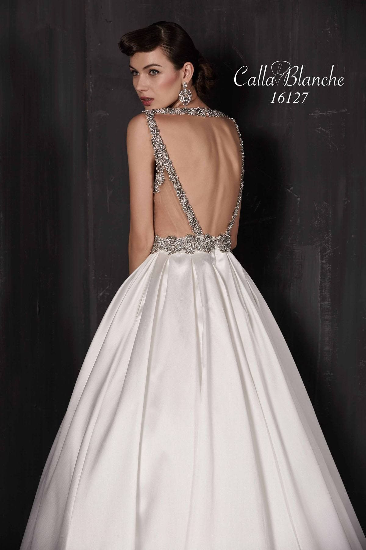 10c9c10e45ce7 Paulette by Calla Blanche 16127 Low Back Ball Gown Wedding Dress ...