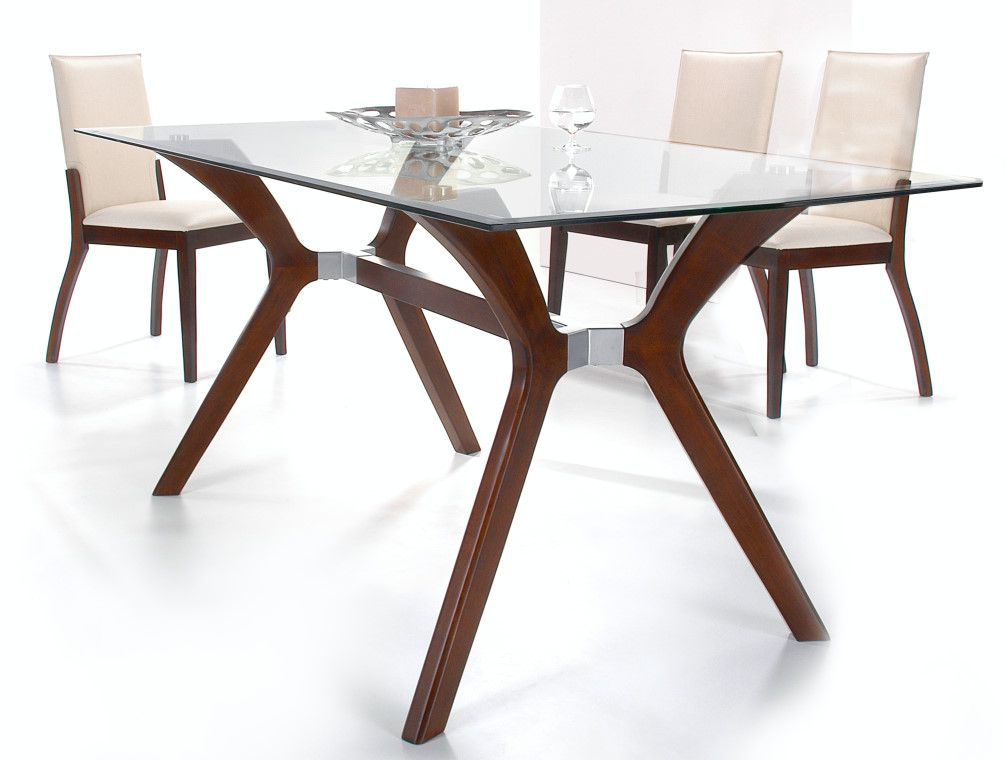 Superieur Luisa Rectangular Glass Dining Table With 4 Side Chairs Chintaly  LUISA DT RCT T Rectangular Glass Dining Table With Satin Dark Walnut  Painted Wood